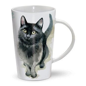 Kaffe- eller temugg med kattmotiv.