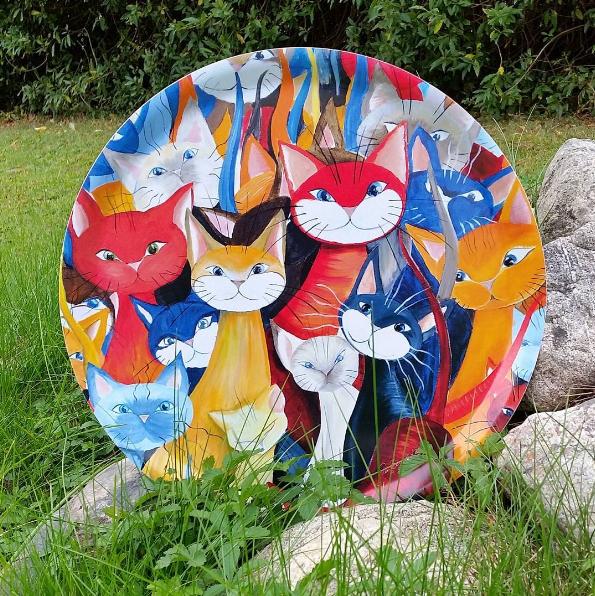 Bricka Mångfald kattmotiv (stor rund) - 3
