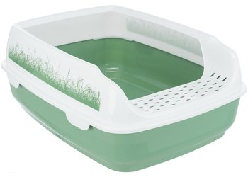 Kattlåda djup med sprättkant, vit / grön