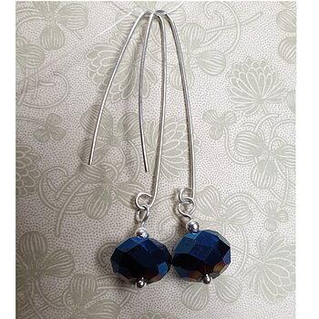 Örhängen facetterat blått glas, handgjord krok - 925 Sterling Silver