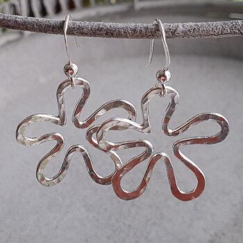 Flower Dangle Earrings - 925 Sterling Silver