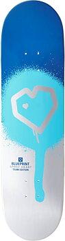 """Blueprint Spray Heart Skateboard Bräda -  Färg: Blå/Silver - Storlek: 8.25"""""""