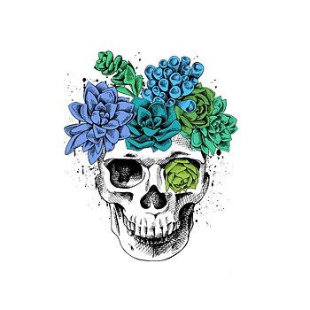 Silitettävä siirtokuva, flower skull