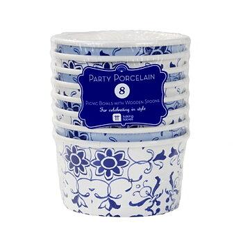 Bägare & Skedar (8 st), Party Porcelain Blue