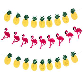 Flaggspel, flamingo & ananas