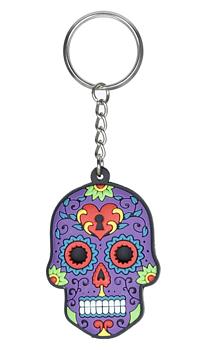 Nyckelring sugar skull, lila