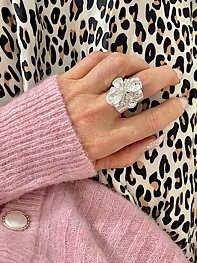 Ring Swarovski Cocktail Janet Clear Silver