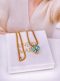 Necklace Maya Pedant Aqua Bohemica Gold