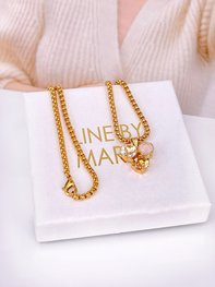 Necklace Maya Pedant CremeGold Combo Gold