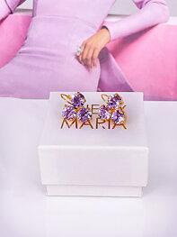 Earrings Maya Triangle Violet Gold