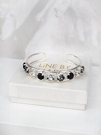 Cuff Bracelet Elena Black Combo Silver