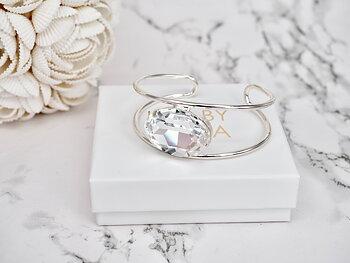 Bracelet Cuff Lauren Double band Clear Silver