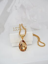 Necklace Swarovski Lexi Pedant Drop Light Colorado Topaz Gold