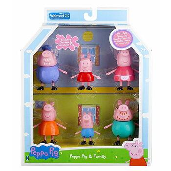 Peppa Pigg/Greta Gris & Familj Figurer 6-pack
