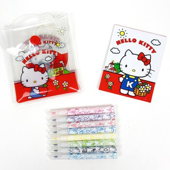 Hello Kitty Retro Tuschpennor och Block i Fodral