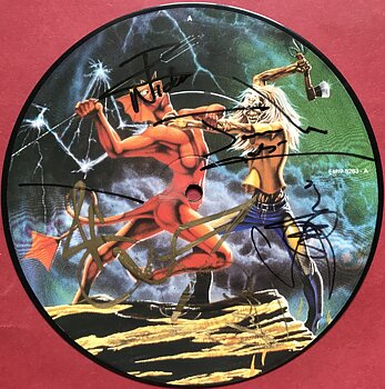 """IRON MAIDEN - Run to the hills SIGNERAD SIGNED Pic disc 7"""" 1982"""