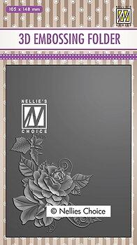 """Nellie Snellen - 3D Embossing folder """"Rose corner-2"""""""