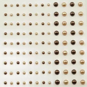 VC -Självhäftande halvpärlor - bruna toner