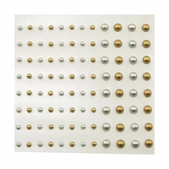 VC -Självhäftande halvpärlor - matt guld matt silver