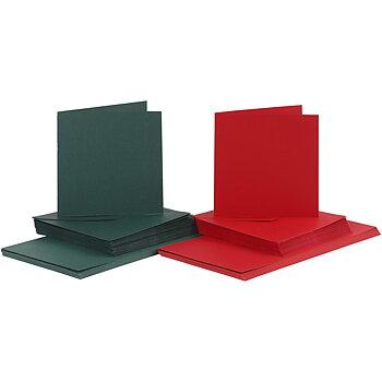 50 st kort & kuvert, röd och grön