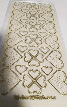 Stickers - Transparenta - Hjärtan med prickar - guld