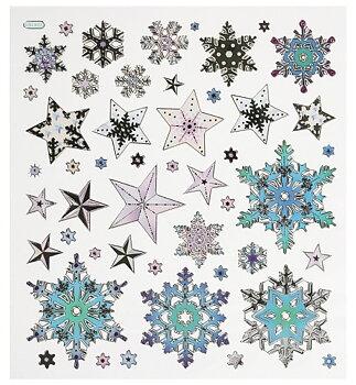Hobby fun - Stickers - snöstjärnor (glänsande)