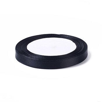 Hel rulle svart satinband