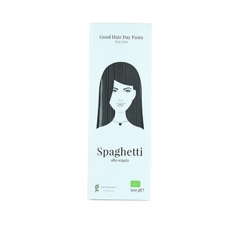"Greenomic Good hair day pasta ""Spaghetti alla seppia"""