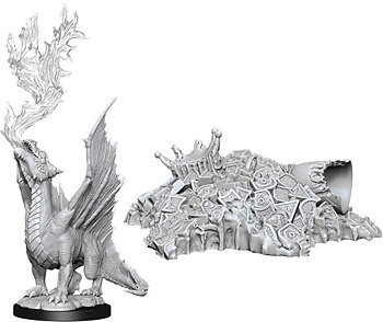 D&D Nolzurs Marvelous Miniatures: Gold Dragon Wyrmling & Treasure
