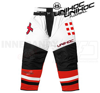 Unihoc Feather Goalie Pants White / Neon Red (Beställningsvara)
