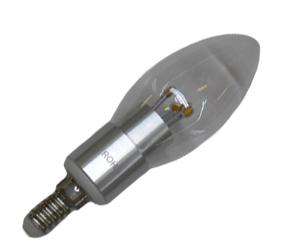 Ledlampa E14 3W Klar Varmvit Dimbar
