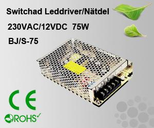 Switchad Leddriver/Nätdel 230VAC/12VDC 75W