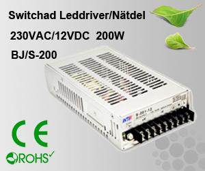 Switchad Leddriver/Nätdel 230VAC/12VDC 200W