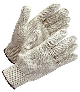 Glove cotton, natural/brown border
