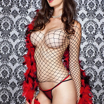 Long-sleeved Fishnet Top & G - String - Set