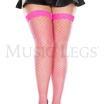 Net Thigh High - Plus Size - Hot Pink