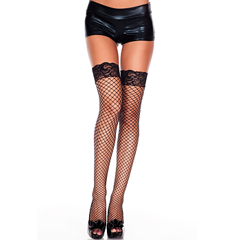 StayUps In Fishnet and Laceedge, Black