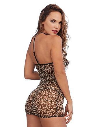 Neglige med dragkedja, leopard