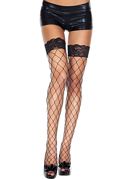 Thigh high fishnet stocking - Black lace edge & Big Hole