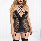 Fishnet Wet Look - Mini Klänning - Plus Size