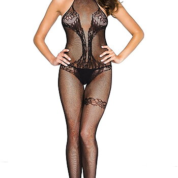 Body Stocking- Fishnet Halter Open Crotch