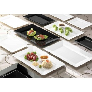 Disposable plate.  Rectangle side plate. Black. 10 pieces.