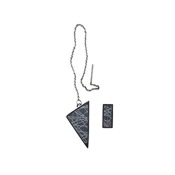 Virrvarr Rectangle small dark Earring - Säljs som ett singelörhänge