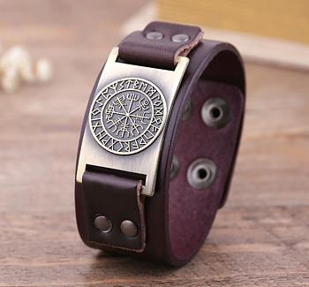 """Armband """"Odins Vegvisir kompass"""" i läder och Antik Brons"""