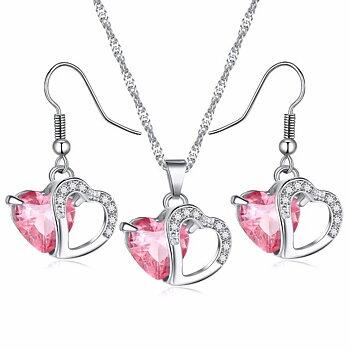"""Smyckeset  """"Twin Hearts"""" med Cubic Zirconia och i 925 Sterling Silverplätering -Rosa"""