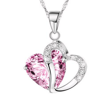 """Halsband """"Twin Hearts"""" med Cubic Zirconia och i  925 Sterling Silverplätering -Rosa"""