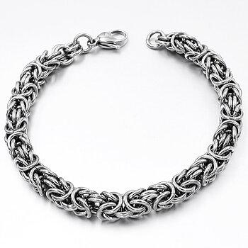 Byzantinelänk -Armband i Rostfritt Stål 7mm -längd 20 cm