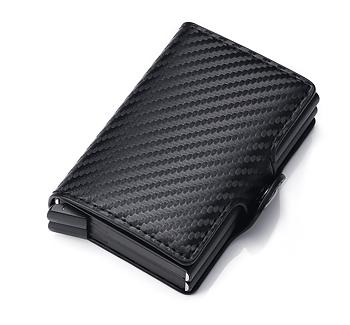 Dubbel Korthållare med smart automatisk funktion i läder - Carbon Black -med rfid blockering!