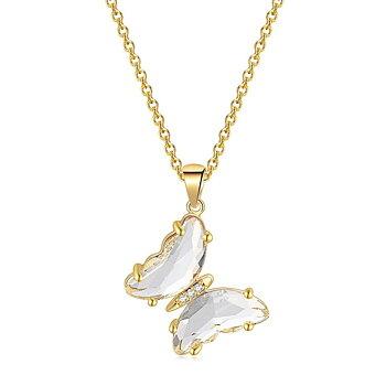 """Halsband """"Butterfly"""" i 18K Guldplätering -Vita kristaller"""
