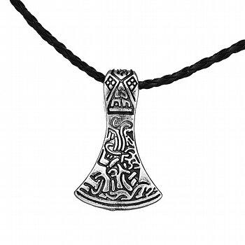 """Halsband """"Tors hammare"""" i rostfritt stål med läderrem"""